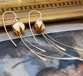 Gold Tropical Flower Earrings