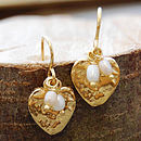 Heart Drop Gold Earrings With June Pearl Birthstone
