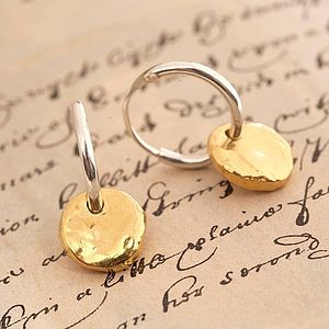 Hoop Earrings With Gold Vermeil Disc - earrings