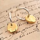 Hoop Earrings With Gold Vermeil Disc