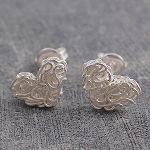 Mesh Heart Silver Stud Earrings - earrings