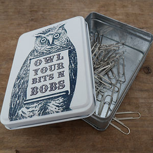 Owl Tin For 'Owl your bits and bobs' - tins