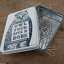 Owl Tin For 'Owl your bits and bobs'