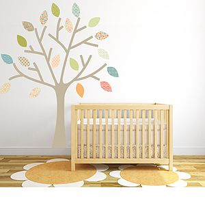 Pastel Tree Fabric Wall Sticker - sale by room