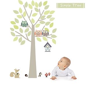 Simple Tree Fabric Wall Sticker - sale by room