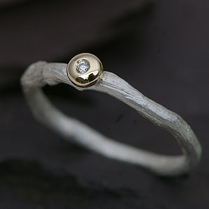 Silver Ring With A Diamond Set In Gold - women's jewellery