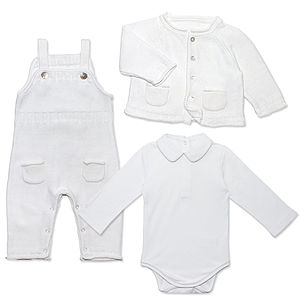 Baby Boy Cotton Knit Christening Outfit - babygrows