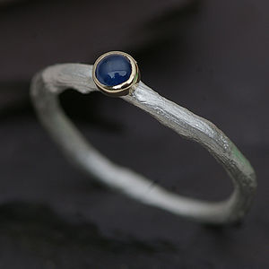 Sapphire Ring In Silver With A Gold Setting - september birthstone