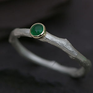 Emerald Ring In Silver With A Gold Setting - jewellery