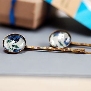 Pair Of Liberty Print Glass Hair Slides