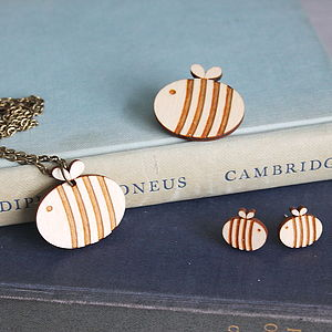 Wooden Bumble Bee Jewellery Gift Set - jewellery sets