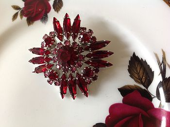 Ruby & Diamante Vintage Brooch