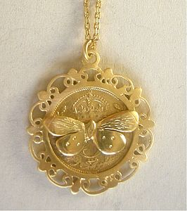 Framed Butterfly Coin Pendant