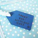 Blue Birthday Wooden Tag