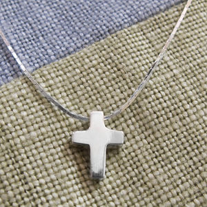 Sterling Silver Christening Cross Necklace