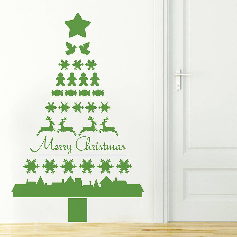 Nordic christmas tree wall sticker by nutmeg notonthehighstreet nordic christmas tree wall sticker amipublicfo Images