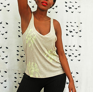 Hand Printed Fluoro Yellow Fern Print Tank - tops & t-shirts