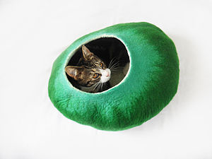 In The Meadow Cat Bed Handmade From Wool - cats