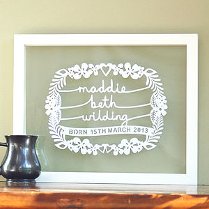 Personalised New Born Baby Papercut Art - paintings & canvases
