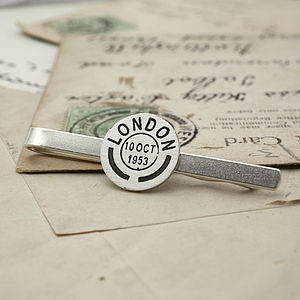 Personalised Vintage Style Postmark Tie Clip - men's accessories