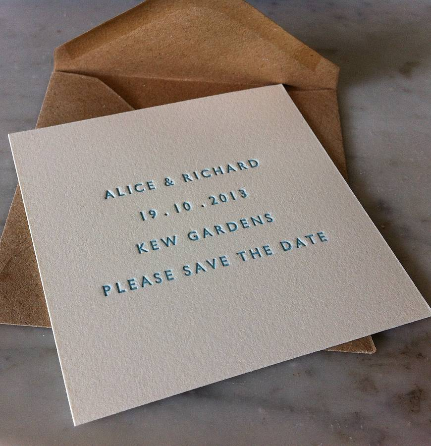 Ideal letterpress save the date card by little red press  DT62
