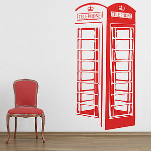Large London Phone Box Wall Sticker - decorative accessories