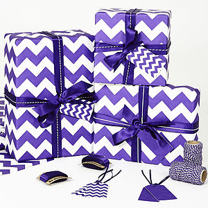 Recycled Purple Chevron White Wrapping Paper - weddings sale