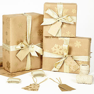 Gold Snowflakes Brown Wrapping Paper - ribbon & wrap
