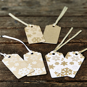 Gold Snowflakes Brown Christmas Gift Tag - gift tags & labels