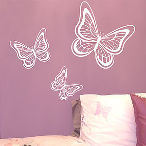 Set Of Three Butterflies Wall Sticker - dining room