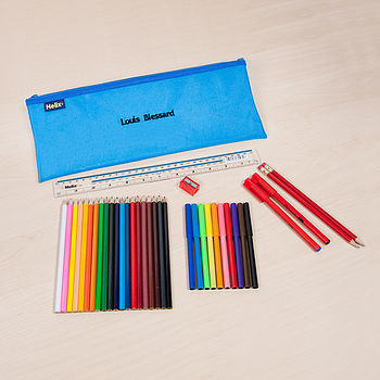 Personalised Blue Pencil Case And Accessories