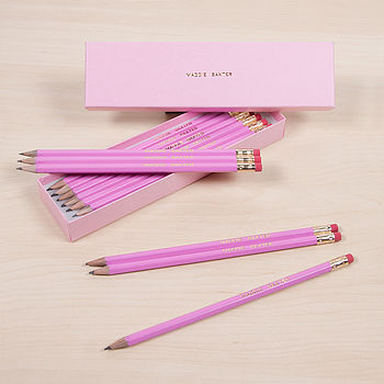 Personalised Pink Pencil Set