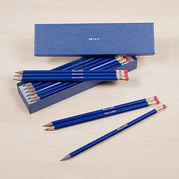 Personalised Navy Pencil Set
