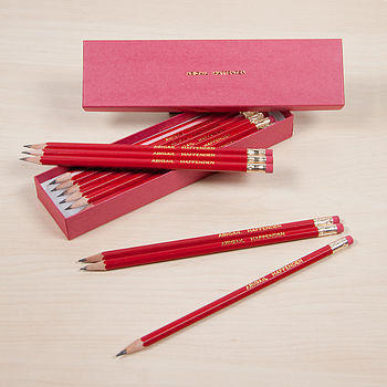 Personalised Red Pencil Set