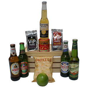 Lager And Snacks Of The World Hamper - wines, beers & spirits