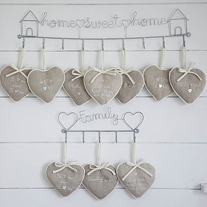 Pairs Of Natural Sentiment Hearts - wedding favours