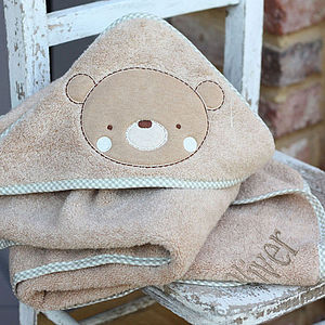 Personalised Bear Hooded Towel - baby care
