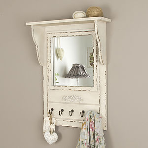 French Distressed Mirror With Hooks - mirrors