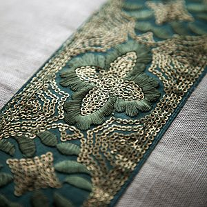 Green Embroidered Linen Cushion - bedroom