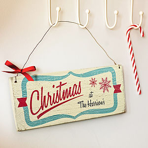 Personalised Vintage Style Christmas Sign - outdoor decorations
