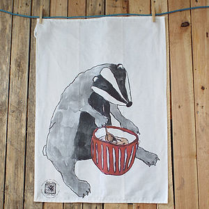 Badger Mixing Bowl Design Tea Towel - kitchen accessories