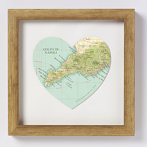 Amalfi Coast Map Heart Print - posters & prints