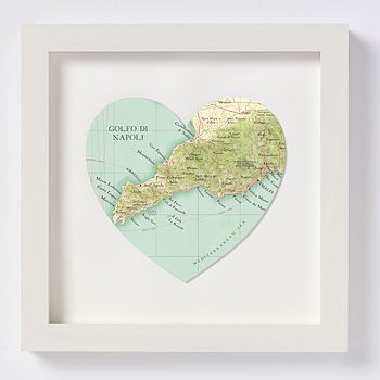 Amalfi coast map heart print white wooden frame