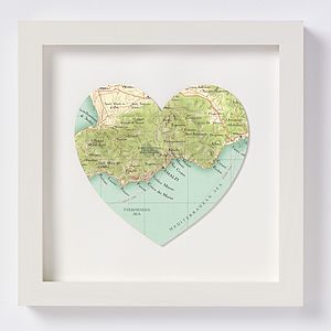 Amalfi Map Heart Wedding Anniversary Print