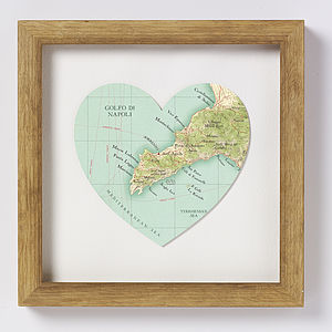 Sorrento Map Heart Print