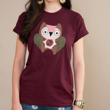 Embroidered Owl T Shirt
