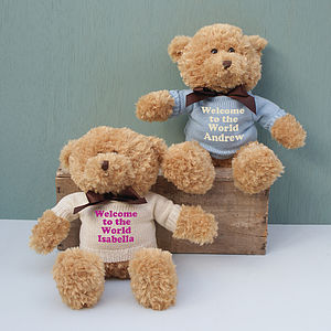 Personalised Welcome To The World Teddy Gift - children's room accessories