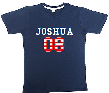 Boy's Personalised T Shirt College Style