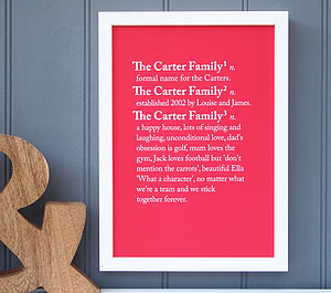 Personalised 'Family' Dictionary Print - gifts for families