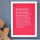Personalised 'Family' Dictionary Print